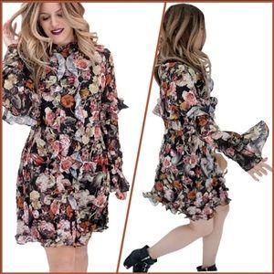 H&M Floral Frill Trimmed Wide Sheer Dress - 10